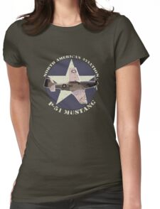 Vintage Look North American Aviation P-51 Mustang Fighter Womens Fitted T-Shirt