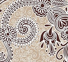 Oriental Iranian Paisley Swirls Beige, Brown, White by sitnica
