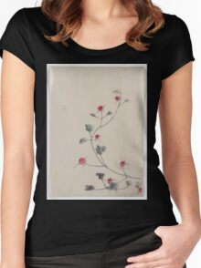 Small red blossoms on a vine 001 Women's Fitted Scoop T-Shirt