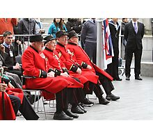 Chelsea Pensioners seated by City Hall Photographic Print