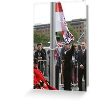 Unfurling the flag at City Hall Greeting Card