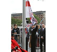 Unfurling the flag at City Hall Photographic Print