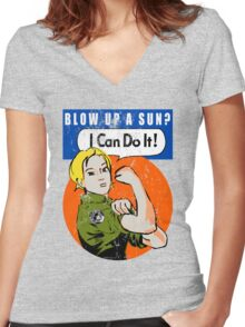 Blow up a sun? - I Can Do It! (distressed print) Women's Fitted V-Neck T-Shirt