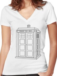 Timey Wimey Blue Box Women's Fitted V-Neck T-Shirt