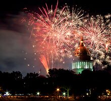 West Virginia Capitol Fireworks 150th Anniversary  by David  Stephenson