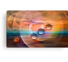 Surrealistic ocean with flying Blowfish Canvas Print