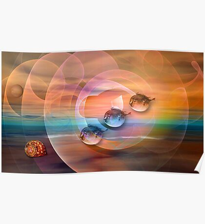Surrealistic ocean with flying Blowfish Poster