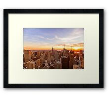 New York City Skyline - Skyscrapers at Sunset Framed Print