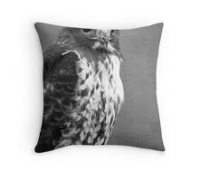 Red-tailed Hawk III BW Throw Pillow