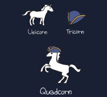 Unicorn + Tricorn = Quadcorn (white design) by jezkemp