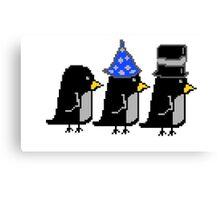 Penguin Hats Pixel Canvas Print
