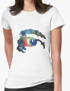 Watercolor Eye Womens Fitted T-Shirt