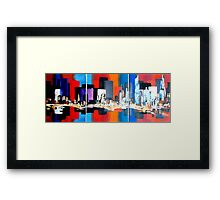London City Skyline Abstract Painting Framed Print