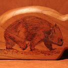 Pyrography: Walking Wombat by aussiebushstick