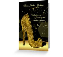 Golden Glitzy Effect Stylish Shoe Birthday Card Greeting Card