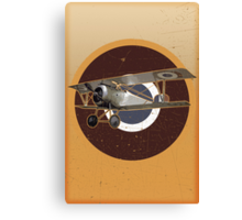 Vintage Look Nieuport fighter biplane on French Emblem Canvas Print