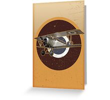 Vintage Look Nieuport fighter biplane on French Emblem Greeting Card