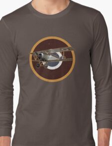 Vintage Look Nieuport fighter biplane on French Emblem Long Sleeve T-Shirt