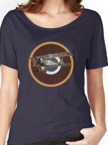 Vintage Look Nieuport fighter biplane on French Emblem Women's Relaxed Fit T-Shirt
