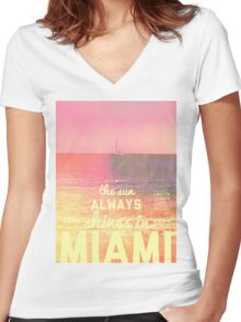 Miami Marshmallow Women's Fitted V-Neck T-Shirt
