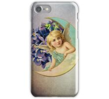 sweet angel angelic cherub girl flowers moon iPhone Case/Skin