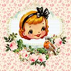 sweet retro vintage cartoon girl floral by hellohappy