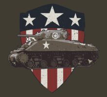 Vintage Look Sherman Tank on Captain America Style Shield by VintageSpirit