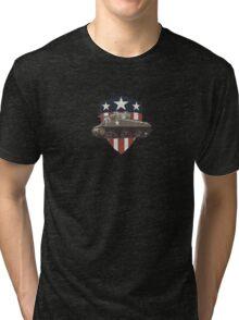 Vintage Look Sherman Tank on Captain America Style Shield Tri-blend T-Shirt
