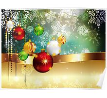 Colorful Background with Xmas Balls Poster