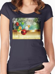 Colorful Background with Xmas Balls Women's Fitted Scoop T-Shirt