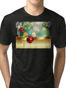 Colorful Background with Xmas Balls Tri-blend T-Shirt
