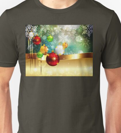 Colorful Background with Xmas Balls Unisex T-Shirt