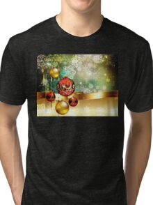 Colorful Background with Xmas Balls 2 Tri-blend T-Shirt