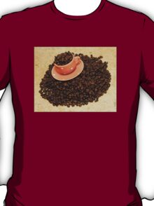 Coffee cup on coffee beans T-Shirt