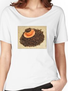 Coffee cup on coffee beans Women's Relaxed Fit T-Shirt