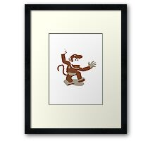 Minimalist Diddy Kong from Super Smash Bros. Brawl Framed Print