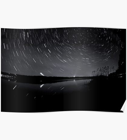 Star trails over the lake Poster