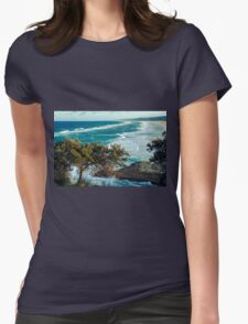 Beach view from Point Lookout Womens Fitted T-Shirt