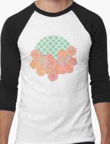 Floral Doodle on Mint Moroccan Lattice Men's Baseball ¾ T-Shirt