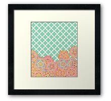 Floral Doodle on Mint Moroccan Lattice Framed Print