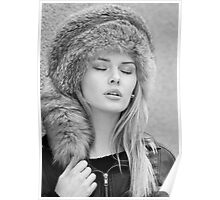 Girl in a fur hat Poster