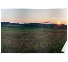 Sunset at the fields Poster
