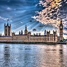 Palace of westminster with sun rays by mjamil81