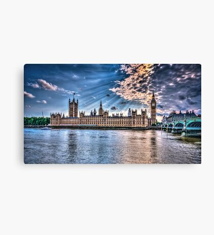 Palace of westminster with sun rays Canvas Print
