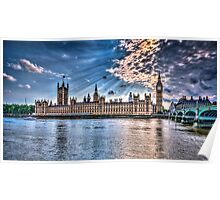 Palace of westminster with sun rays Poster
