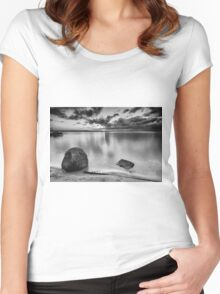 Black and white image of Wellington Point Beach Women's Fitted Scoop T-Shirt