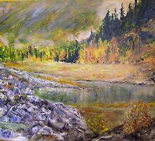 Camping at Carpenter Lake BC by Lynda Earley
