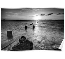Black and white image of Wellington Point Beach Poster