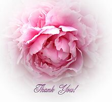Pink Peony Thank You card by walstraasart