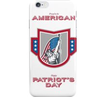Patriots Day Greeting Card American Patriot Holding Up USA Flag iPhone Case/Skin